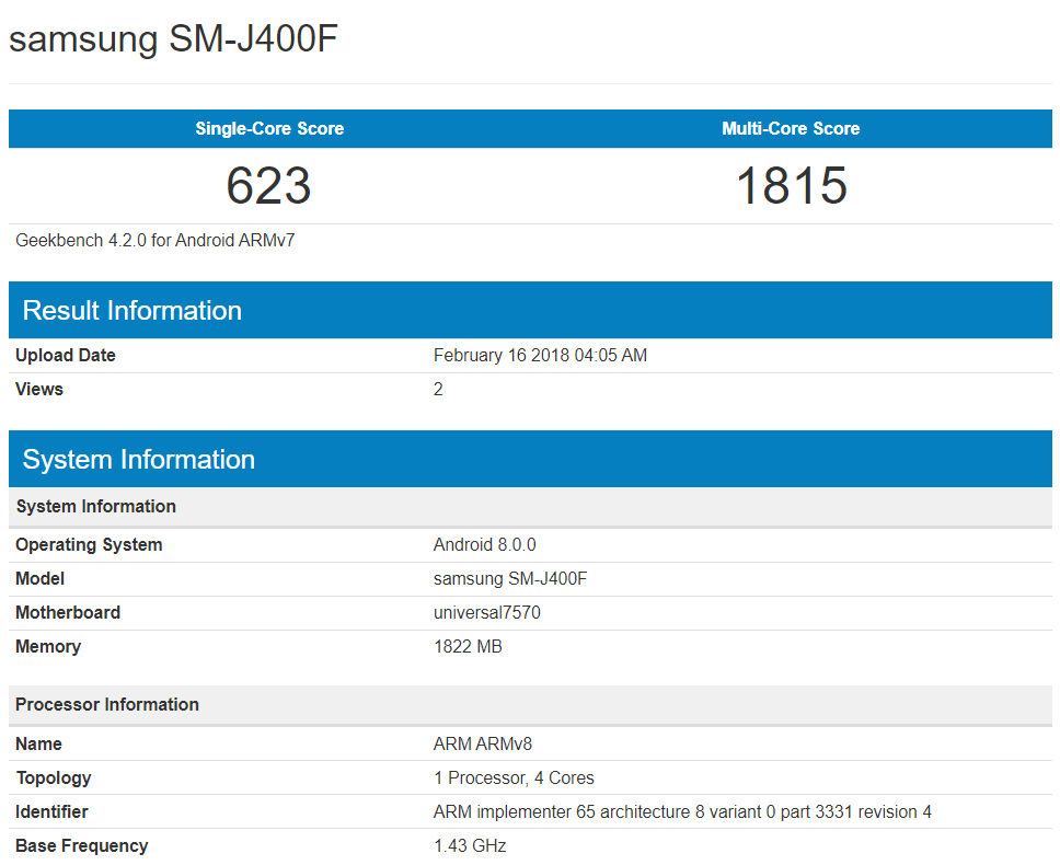 Samsung Galaxy J4 Geekbench