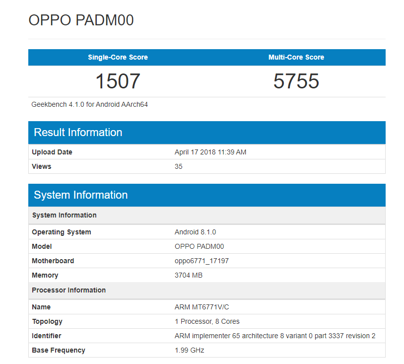 Geekbench Benchmarks MT6771-Powered OPPO A3