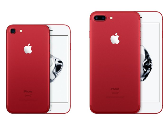 IPhone vermelho 7 e iPhone 7 Plus