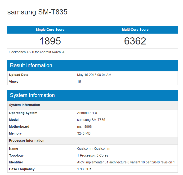 Galaxy Tab S4 geekbench