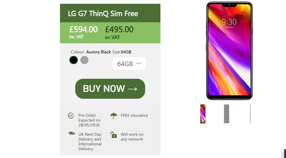 LG G7 ThinQ UK Цена