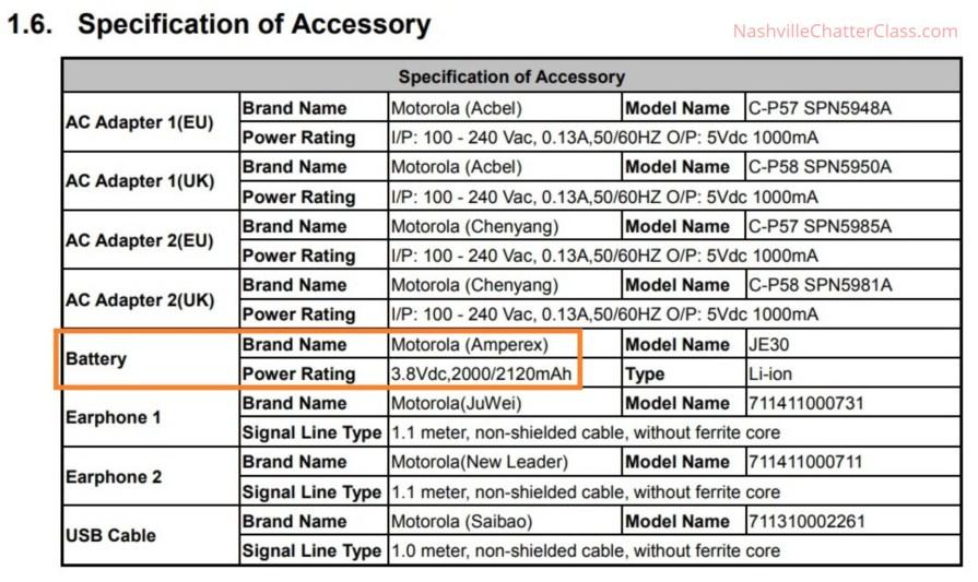 Moto C2 XT1920 FCC