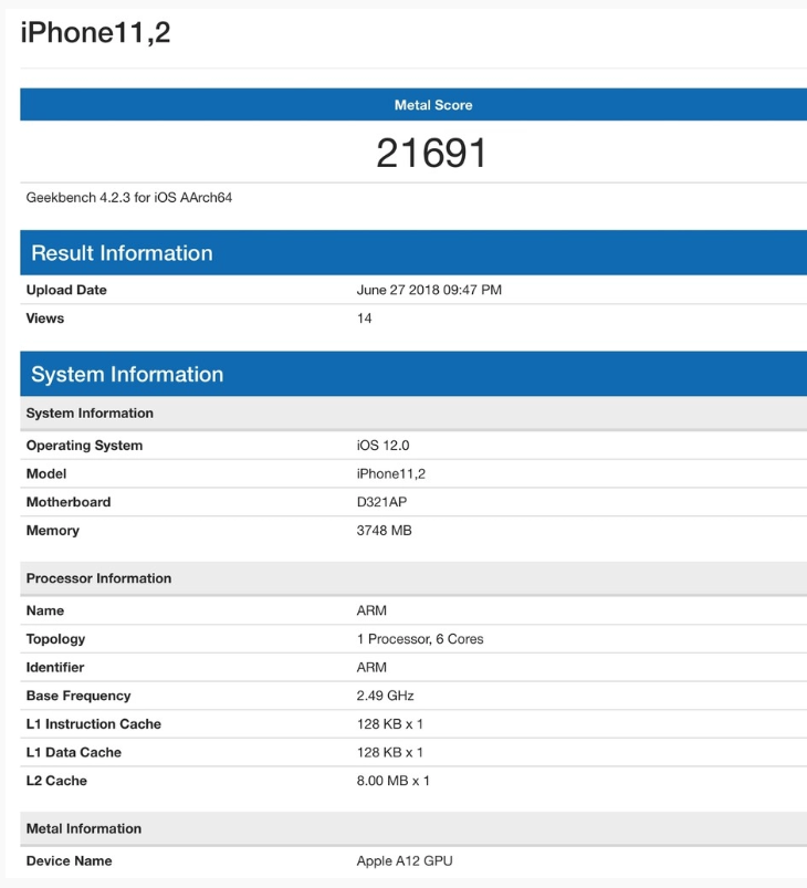 Apple A12 GPU Geekbench