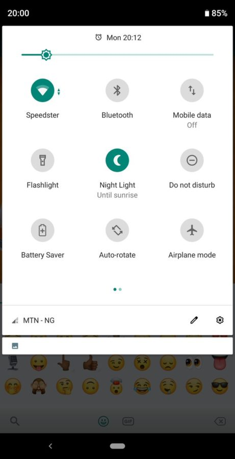 Меню быстрых настроек Android Pie