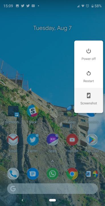 Кнопка скриншота Android Pie