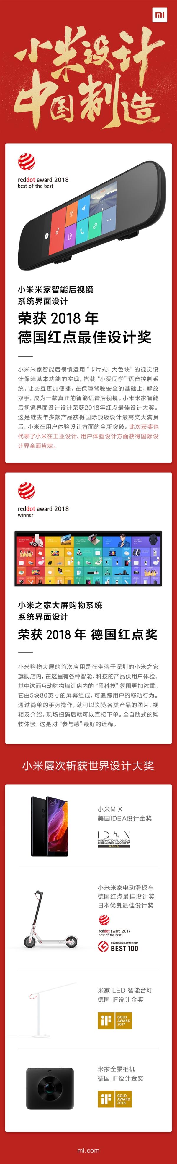 Системный интерфейс, такой как интеллектуальное зеркало заднего вида Xiaomi Mijia, выиграло награду за лучший красный приз