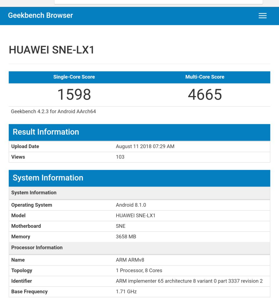 Huawei Mate 20 Lite GeekBench