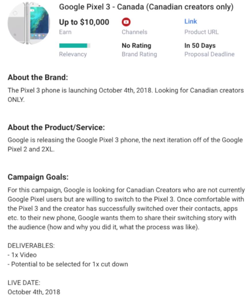 Объявление Google Pixel 3 Famebit Ad