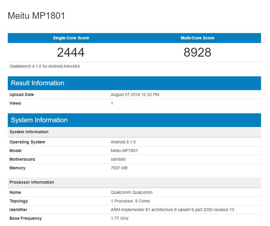 Meitu MP1801 Geekbench
