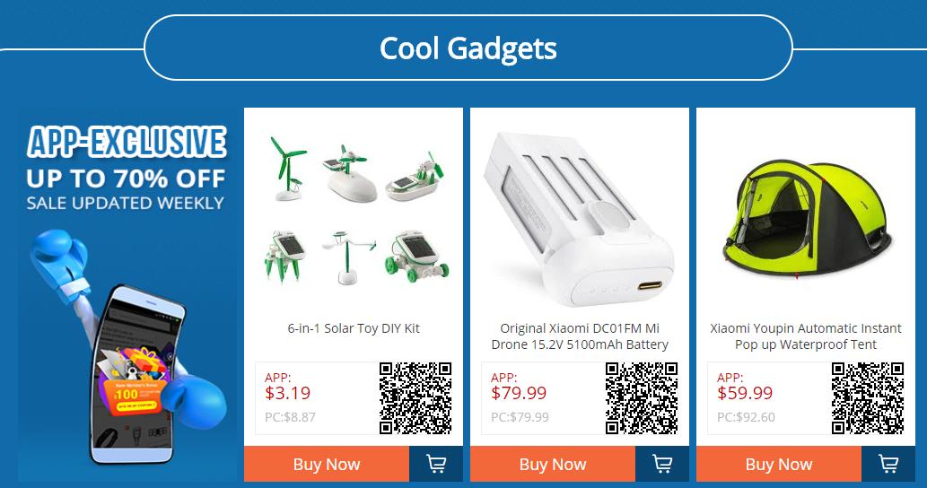 Venda de gadgets da GearBest