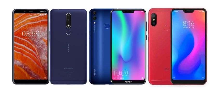 Nokia 3.1 Plus против Honor 8C против Xiaomi Redmi 6 Pro