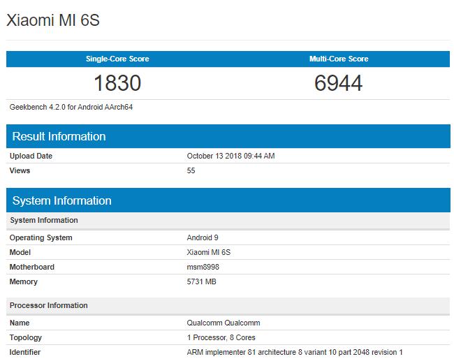 Xiaomi Mi 6S Geekbench