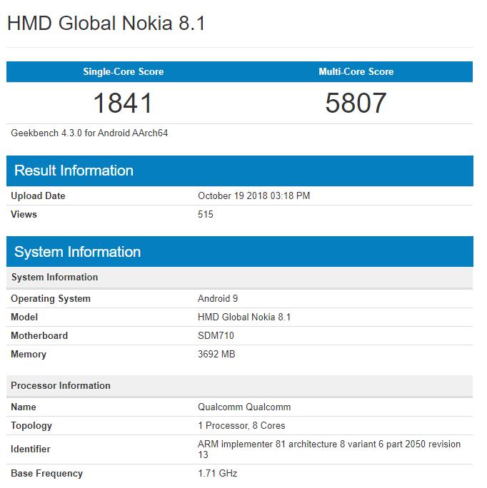HMD Global Nokia 8.1 geekbench