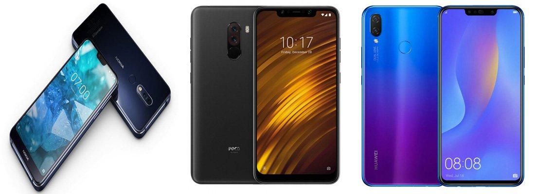 Nokia 7.1 против Xiaomi Pocophone F1 против Huawei Nova 3i