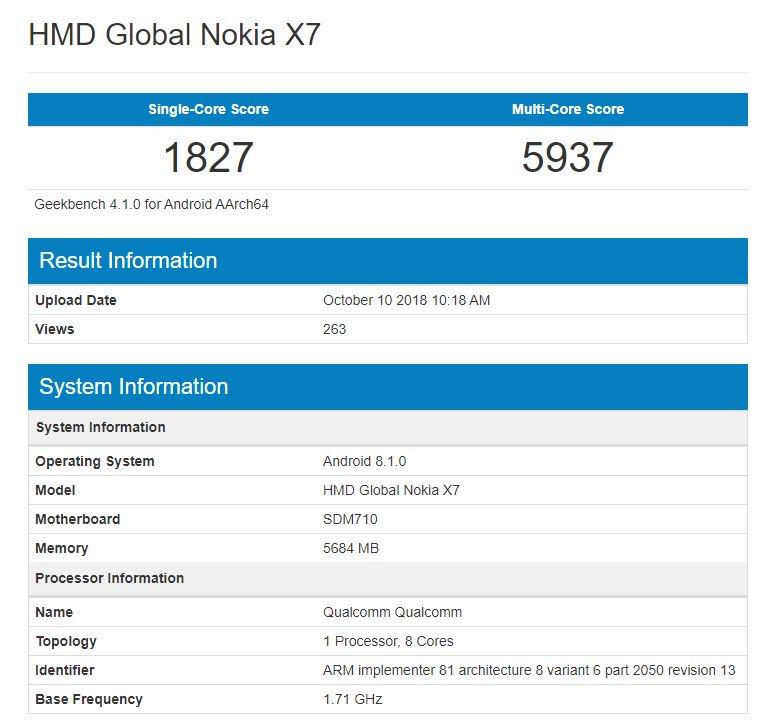 Nokia X7 Geekbench