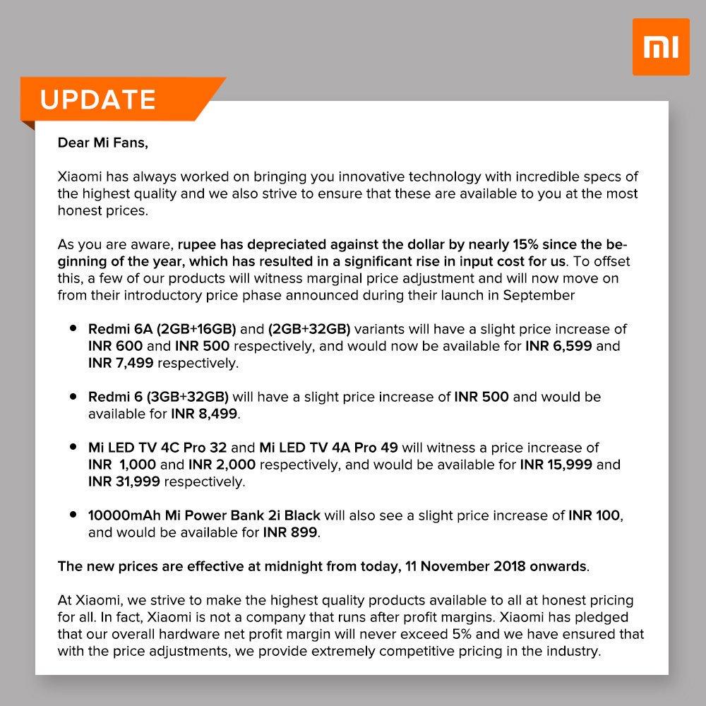 Рост цен Xiaomi India