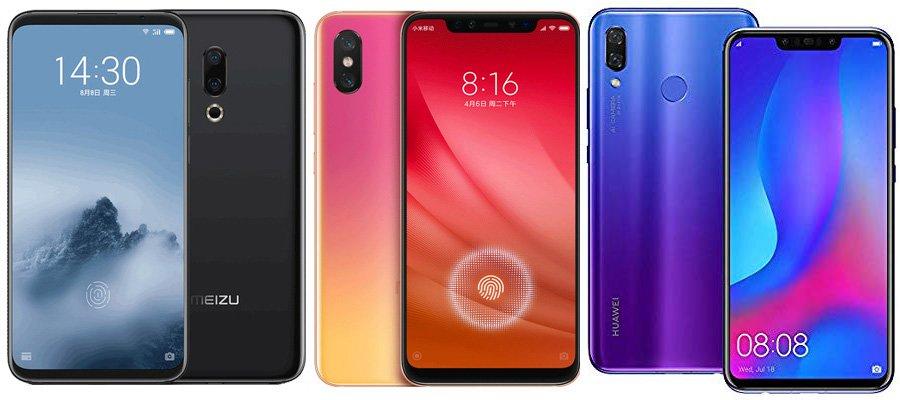 Meizu 16 против Xiaomi Mi 8 Pro против Huawei Nova 3