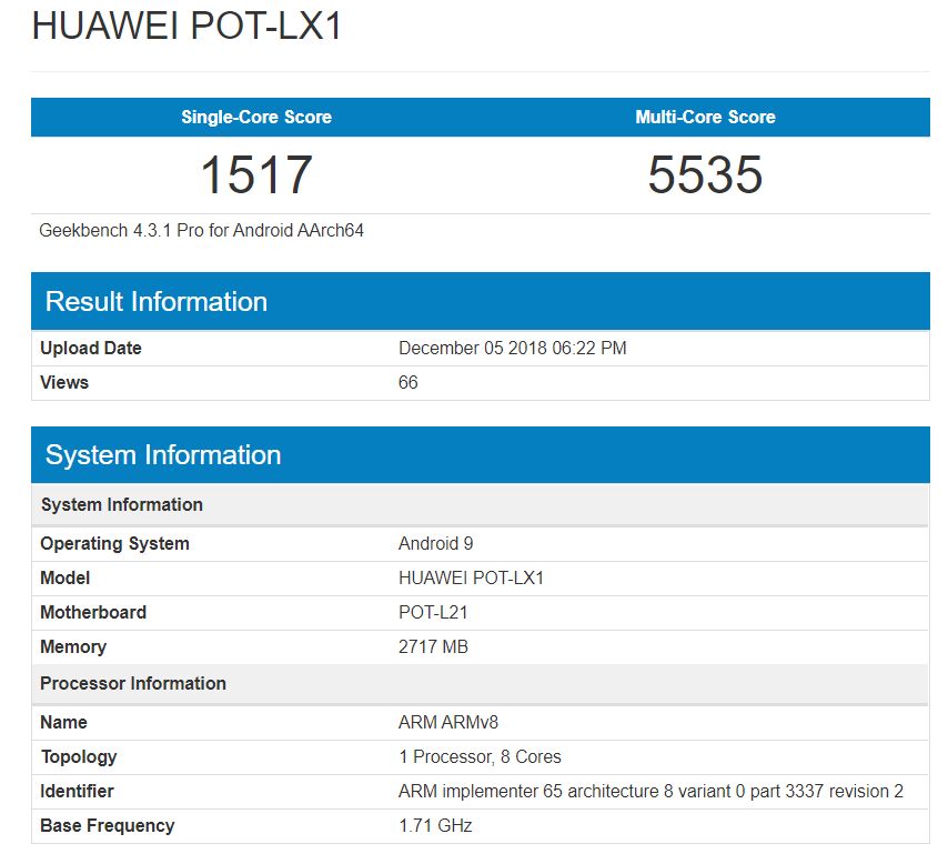 Huawei P Smart 2019 Geekbench