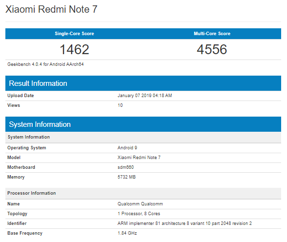 Xiaomi Redmi Note 7 Geekbench