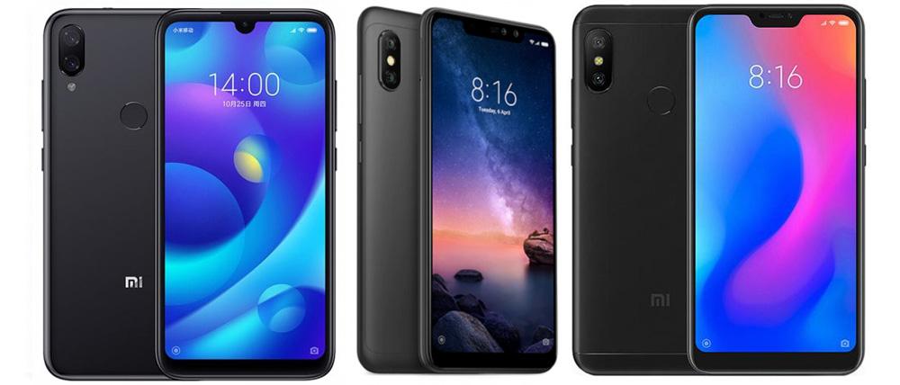 Xiaomi Mi Play , Xiaomi Redmi Note 6 Pro и Xiaomi Mi A2 Lite