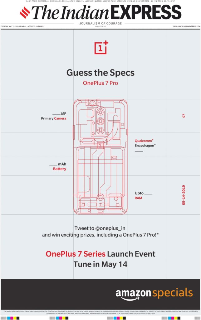 In newspaper advertising OnePlus 7 Pro, users want to guess