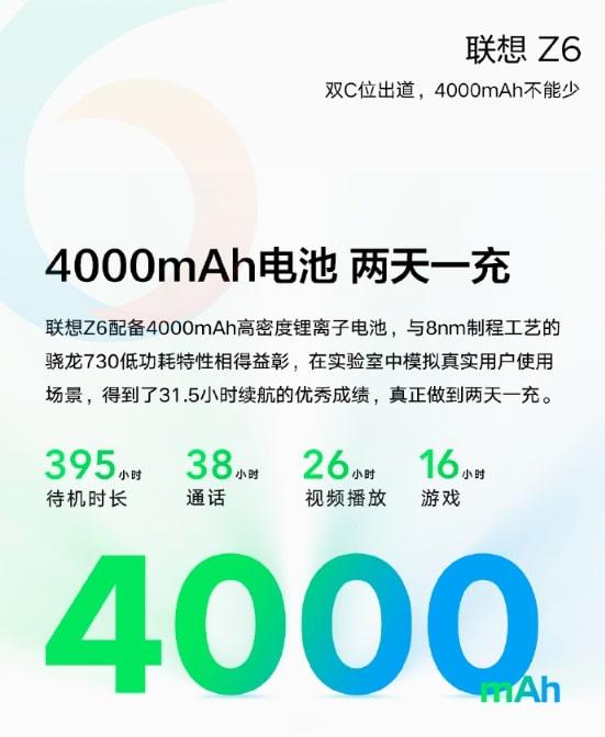 Specifiche della batteria Lenovo Z6 Pro