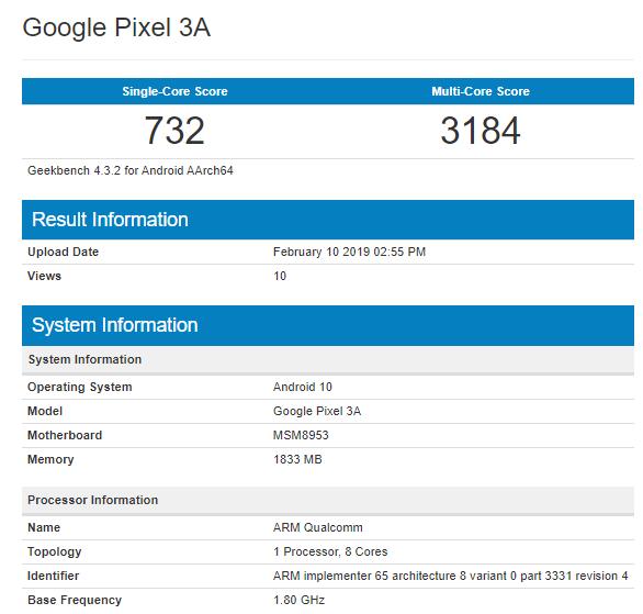 Google Pixel 3A Geekbench