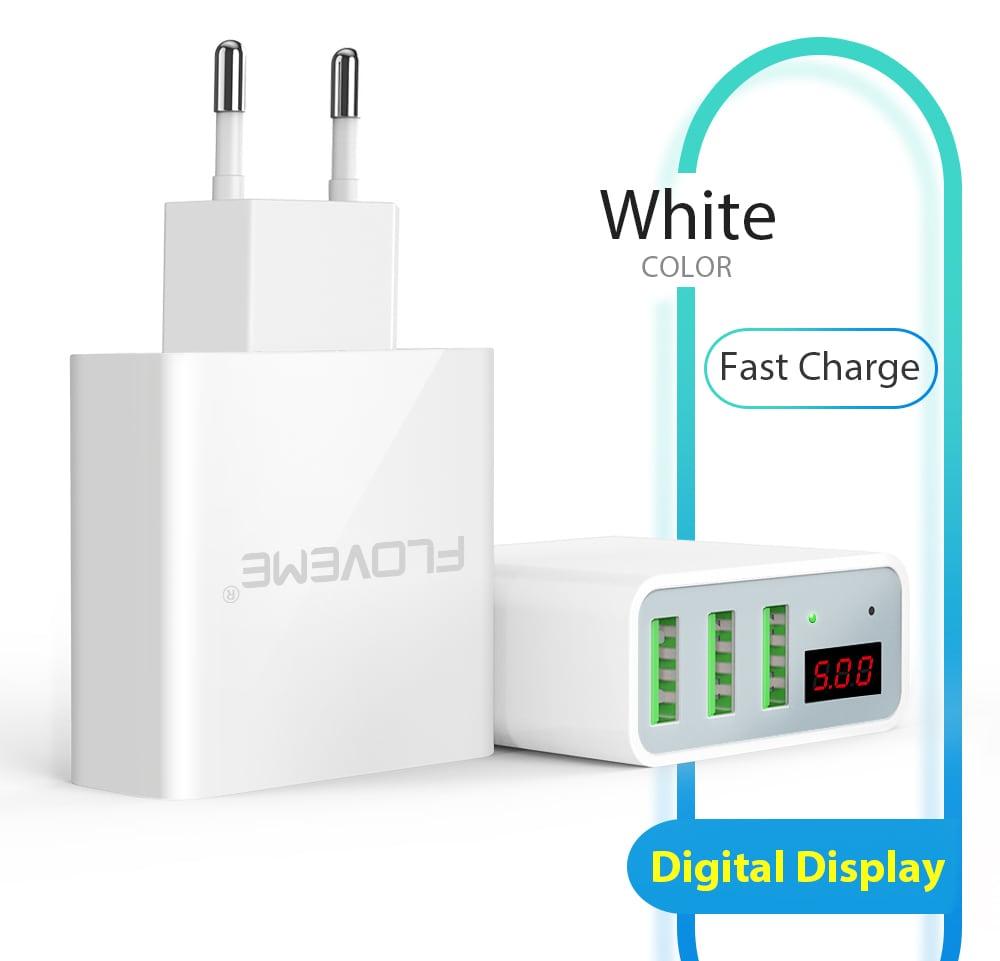 FLOVEME Smart Digital ДИСПЛЕЙ 3 USB зарядное устройство от Gearbest