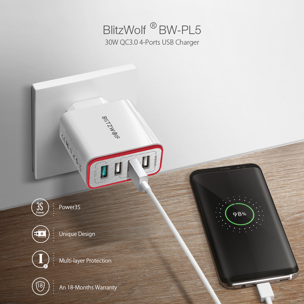 BlitzWolf BW-PL5 30W QC3.0 شاحن سريع 2.4A 4 منفذ USB من Banggood