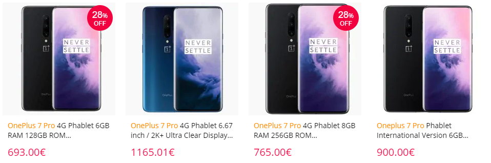 最低价格:OnePlus 7 Pro