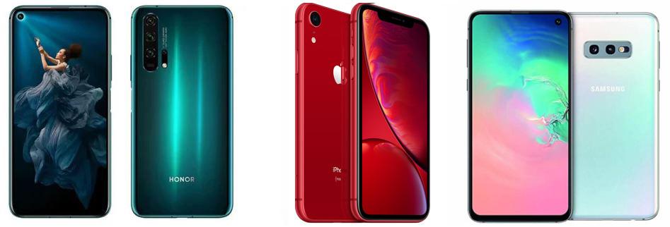 Honor 20 Pro против iPhone XR против Samsung Galaxy S10e