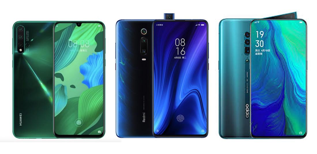 Huawei Nova 5 против Redmi K20 против Oppo Reno: сравнение характеристик