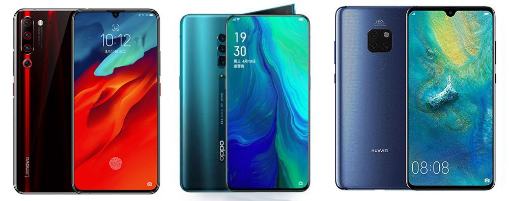 Lenovo Z6 Pro 5G Edition против Oppo Reno 5G против Huawei Mate 20 X 5G