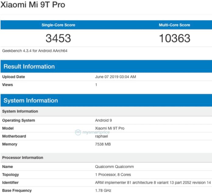 Xiaomi Mi 9T Pro Geekbench Рафаэль