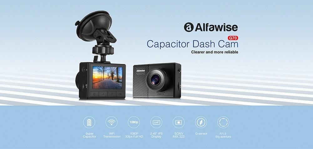 Alfawise G70 F1.5 Суперконденсаторный автомобильный видеорегистратор Dash Cam - черный