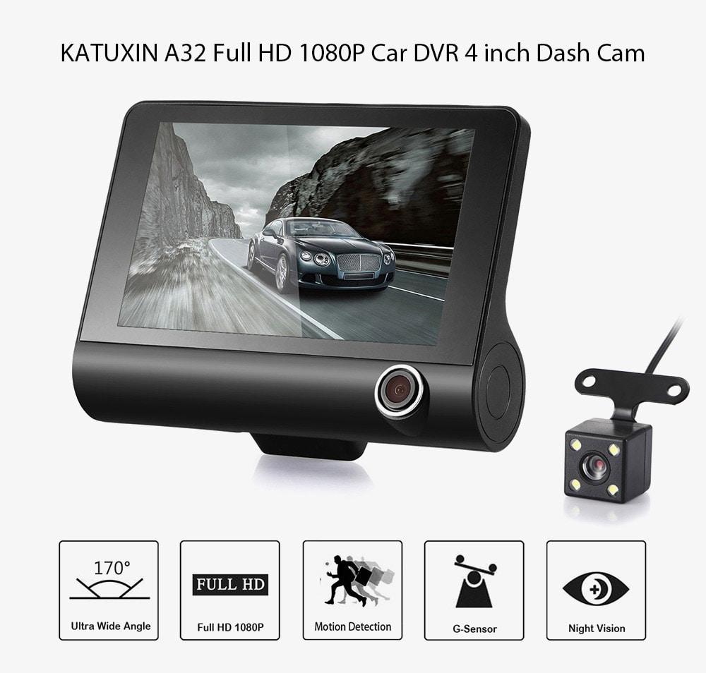 Автомобильный видеорегистратор KATUXIN A32 Full HD 1080P 170 градусов, широкоугольный 4-дюймовый видеорегистратор с ночным видением / G-сенсором / парковочным монитором - черный