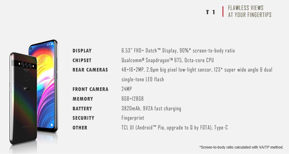 TCL T1-specificatieblad