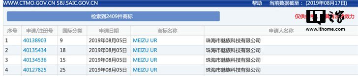 Meizu UR trademark application