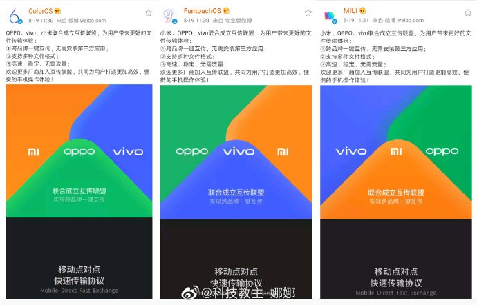 OPPO, Vivo, Xiaomi announce the file transfer alliance