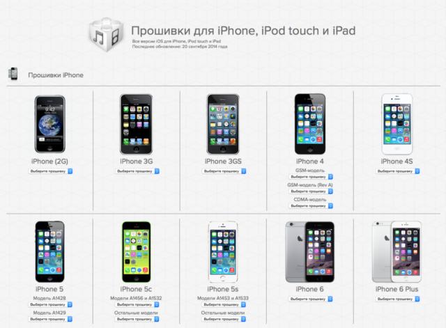 Прошивки разных моделей Айфонов