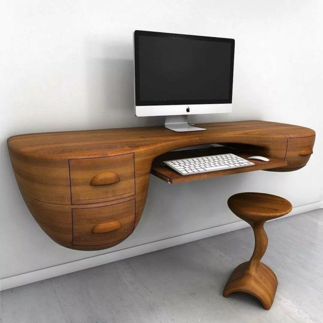 Навесной компьютерный столик из дерева