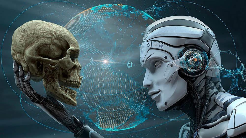 Робот держит в руке человеческий череп