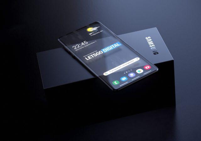 Смартфон лежит на коробке