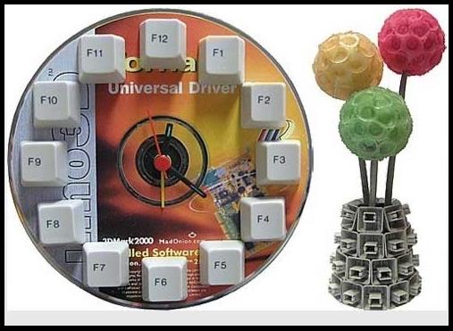 Циферблат из CD-диска и клавиш