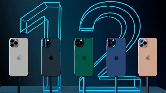 Смартфоны на фоне цифры 12