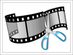 Обрезка видеопленки ножницами