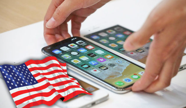 Американский флаг и айфон в руках