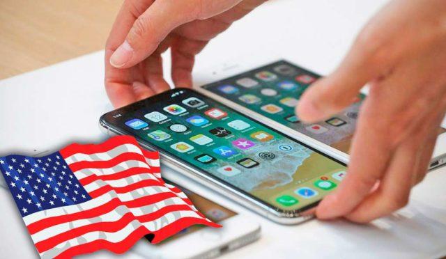 Флаг США и смартфоны в руках