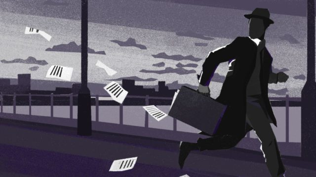 """Рисунок """"Шпион убегает, теряя документы из чемодана"""""""