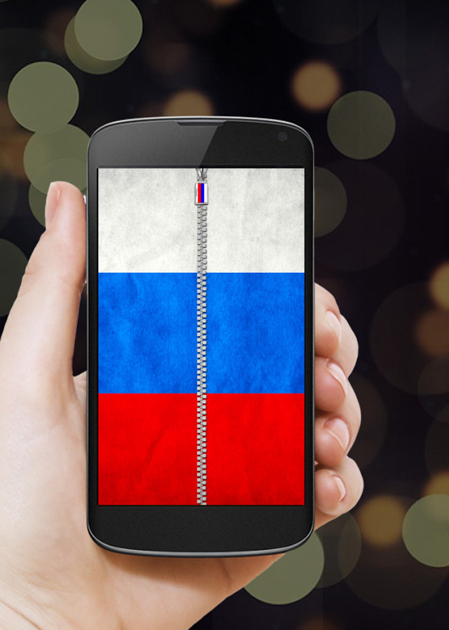 Российский флаг на смартфоне